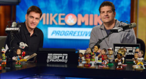 Bristol, CT - May 16, 2013 - Studio E: Mike Greenberg and Mike Golic on the set of Mike and Mike (Photo by Joe Faraoni / ESPN Images)